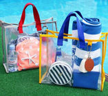Transparent Cosmetic Tote Bag , PVC Hand Carry Clear Stadium Bag For Ladies