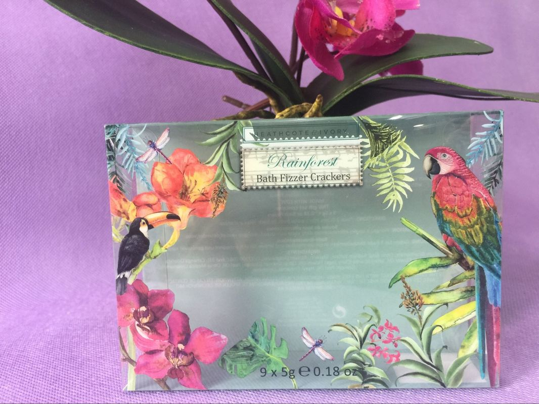 Durable Clear Green Printed PVC Box OEM , Printing Flowers PVC Plastic Box