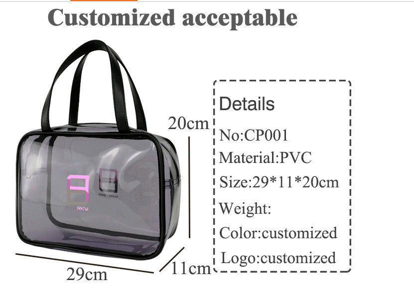 Clear PVC Handbags With Zipper , Customized Piping Woman Makeup Tote Bag