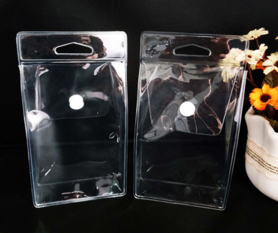 Custom PVC Packing Bag , Clear PVC Pouch Bag With Pouch Button