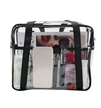 Ladies Clear PVC Handbags Waterproof Transparent With Customized Sewing Printing