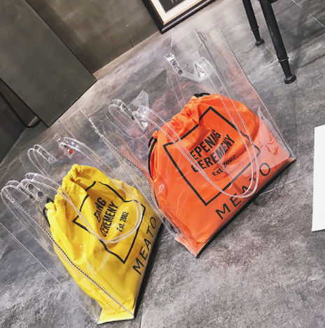 Summer Large Plastic PVC Clear Tote Bag Customized Color With Inner Drawstring