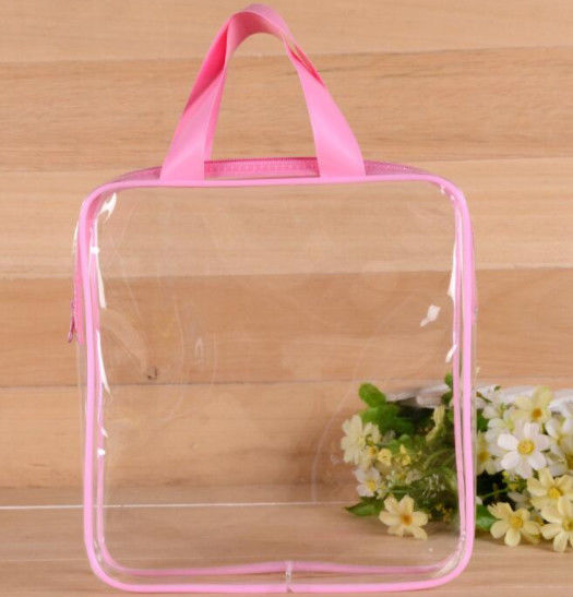 Heat Seal Transparent PVC Swim Bag , Cosmetic Piping Plastic Zipper Pouch With Handle