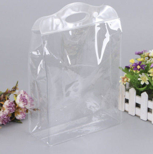 Transparent EVA Plastic Bag , Clear Cosmetic Bags With Carry Handle